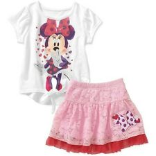 NEW Disney Minnie Mouse Girls Glitter Shirt Top Pink Lace Skirt Outfit Set 3T