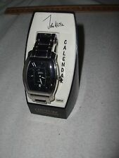 JOHN WEITZ CALENDAR COVTURE STAINLESS STEEL SILVER COLORED QUARTZ WATCH