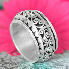 Solid 925 Sterling Silver Spinner Ring Hammered Wide Band Spirals Boho Size 9.5
