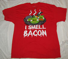 MENS T-SHIRT XL ANGRY BIRDS GREEN PIG KING GAME I SMELL BACON VIDEO GAME NEW
