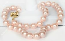 AAA+ Natural 10mm Pink South Sea Shell Pearl Necklace 18''