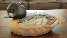 """12"""" DUCK DECOY Ceramic Porcelain Beautiful Figure Figurine Decor Green Tan Birds"""