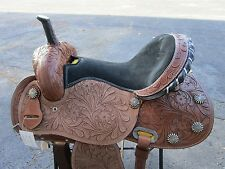 16 BARREL RACING SHOW RACER TRAIL PLEASURE TOOLED LEATHER WESTERN HORSE SADDLE