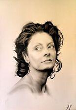 Susan Sarandon - ritratto portrait grafite e carboncino cm. 33 x 48