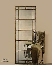 Oversize Antiqued Window Mirror Smoked Glass | Wall Floor Leaner