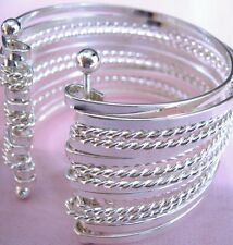Ladies Silver Plated Metal Alloy Multi Hoop Cuff Bangle Hippy Boho Look New