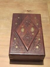 Wooden handmade jewelry box with top lid engraving