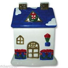 Ceramic Building Cookie Jar Red Rose House NIB