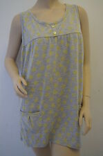 Neon Yellow Star Print Grey Retro Funky Tunic Top Dress Size 14 NEW FREE P&P E6