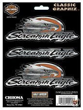 HARLEY DAVIDSON SCREAMING EAGLE EMBOSSED CHROME DECAL SET *MADE IN USA* SCREAMIN