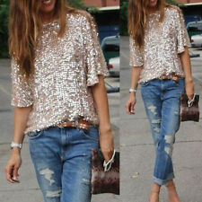 Women Off-shoulder Sexy Slim Blouses Loose Shirt Tops Glistening Sequin Tank Top
