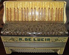 A. De Lucia Vintage Italian White Pearl  Accordion with Case, 120 key