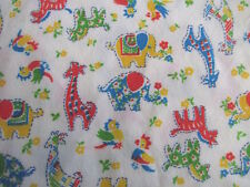 Vintage baby juvenile sleepwear fabric primary zoo animals jungle synthetic BTHY