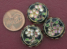 THREE 19MM FLORAL FLAT ROUND CLOISONNE BEAD