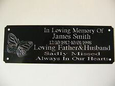 Butterfly  Bench Memorial  Plaque Plate Sign Your Own Personal Words 160x55mm