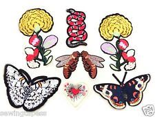 Set of 8 Yellow Flower Butterfly Bee Snake Embroidered Sew On Patch DIY Applique