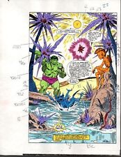 Original 1985 Marvel Comics Hulk color guide art splash page 22:Sal Buscema/80's