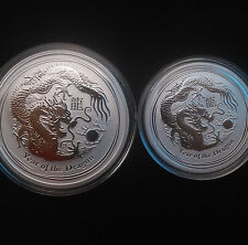 2 Coin Lot - 2012 1 oz and 1/2 oz  .999 Fine Silver Australian Lunar Dragon Coin