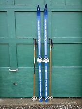 "VINTAGE Wooden 74"" Skis Has  Blue Finish Signed RADISSON + Bamboo Poles"
