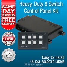 Switch Panel 8 Gang LED Waterproof Caravan Marine Membrane 12 volt Night Light
