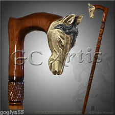 FOLK ART NATURAL HANDLE CARVED CRAFTED WOODEN WALKING STICK CANE STAFF HORSE 2