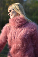 DUKYANA Hand Knit FUZZY Mohair Sweater New Pullover Tneck Jumper Coral M-L
