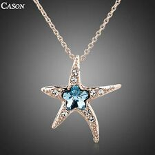 Fashion Austrian Crystal Starfish Chain Pendant Necklace 18K Rose Gold Plated