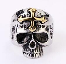 Wholesale Lot 5Pcs Mens Stainless Steel 18K Gold Plated Cross Skull Ring 8-12 Y