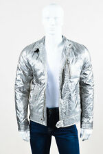 MENS Dolce & Gabbana NWT $3095 Metallic Silver Tone Quilted Moto Jacket SZ 50