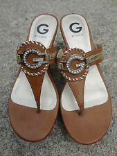 G by Guess Womens Peona Cognac Cork Wedge Flip Flop Sandal NWOB Size 8.5M