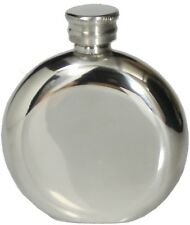 4oz ENGLISH PEWTER CLASSIC ROUND HIP FLASK HANDMADE by PINDER BROS SHEFFIELD