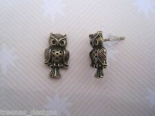 *CUTE LITTLE OWL STUD EARRINGS* Antique Goldtone Earrings Bronze GIFT BAG Post