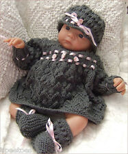 Knitting Pattern DK 21 TO KNIT Baby Girls or Reborn Dolls Dress Hat Booties