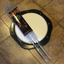 "NEW TUNABLE DRUM PRACTICE PAD 8"" & NEW FIRESTIX LIGHT UP RADIANT RED DRUM STICKS"