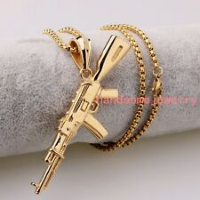 Fashion Stainless Steel AK 47 Gun 18K Gold Men Women Pendant Necklace Box Chain
