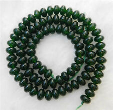 "DARK GREEN 4x6mm NATURAL GREEN JADE GEMSTONE ROUNDEL LOOSE BEADS 15"" STRANDS"