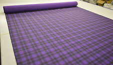 PURPLE CHECK TARTAN PUNK PRINT STRETCH COTTON ELASTANE TWILL FABRIC BY THE METRE