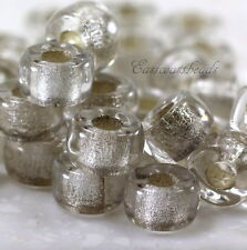 9mm Glass, Pony,Roller Beads, 3.5mm Hole Crystal w/Silver Lining~ 20 Pcs, 0023