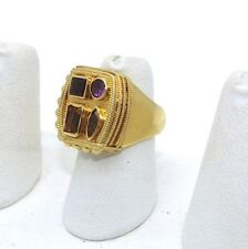 Solid 21K Gold Egyptian Hieroglyphics Ring IBIS Amethyst Imperial Topaz Vintage