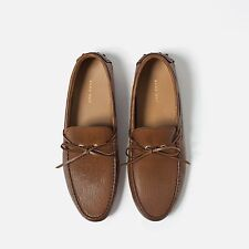 NWT Zara Man Men's Brown Leather Driving Loafers Moccasins US Sz 11   *YWT