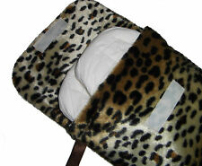 Baby Leopard Fur Nappy Diaper & Wipes Case - Travel Changing Bag Handmade NEW