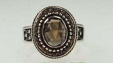 Sara Blaine Sterling silver & 18k gold accent with 8x6 faceted Smokey Quartz