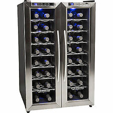 32 Bottle Stainless Steel French Door Wine Refrigerator Compact Dual Zone Last 1