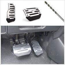 2 Pcs Car Automatic Nonslip Brake Clutch Pedal Cover Set Foot Belt drill Silver