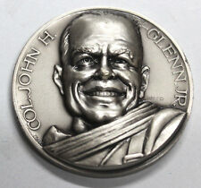 JOHN GLENN 1ST ORBITAL FLIGHT MEDAL WHITE METAL VERY HIGH RELIEF AFFER ITALY UNC