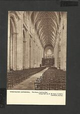 Vintage Sepia Postcard Winchester Cathedral The nave Looking East Unposted