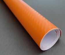 3D Carbon Fiber ORANGE Twill-Weave Matte Design Vinyl Film 24 x 12 Inches
