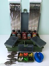 Carp Fishing Loaded Tackle Box + Hair Rigs + Corn + Attractors + Method Feeders