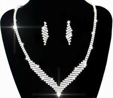 Bridal Jewellery White Crystal Set Studs Earrings & Necklace Pendant S202
