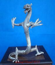 Antique Collectible Handmade Copper Silve Statue Dragon Chinese Art Deco 8.58""